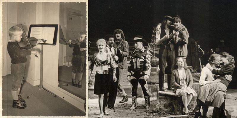Kalle Ricken als Kind mit Geige - und mit Gummistiefeln, Mandoline und Mona Seefried im Schillertheater (Foto Roland-Beeneken)